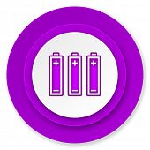 battery icon, violet button, power sign