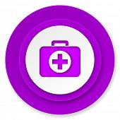 first aid icon, violet button, hospital icon, violet button
