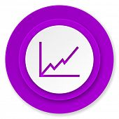 chart icon, violet button, stock sign