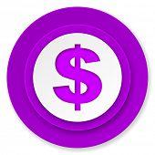 dollar icon, violet button, us dollar sign