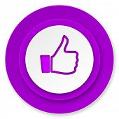 thumbs up icon, violet button, thumb up sign