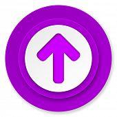 up arrow icon, violet button, arrow sign
