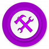 tools icon, violet button, service sign