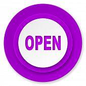 open icon, violet button