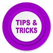 tips tricks icon, violet button