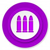 ammunition icon, violet button, weapoon sign