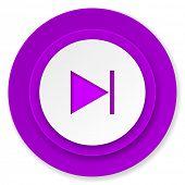 next icon, violet button
