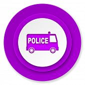 police icon, violet button