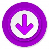 download arrow icon, violet button, arrow sign