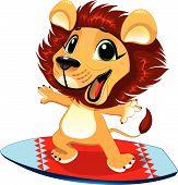 Baby leeuw met surf.