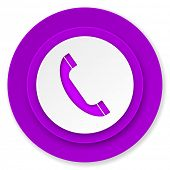 phone icon, violet button, telephone sign