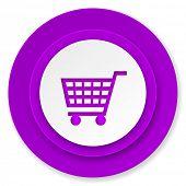 cart icon, violet button, shop sign