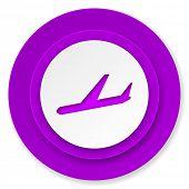 arrivals icon, violet button, plane sign