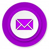 email icon, violet button, post sign