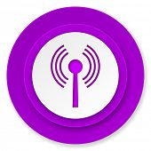 wifi icon, violet button, wireless network sign