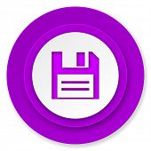disk icon, violet button, data sign