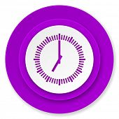 time icon, violet button, clock sign