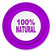 natural icon, violet button, 100 percent natural sign