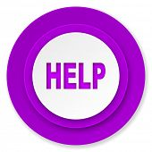 help icon, violet button
