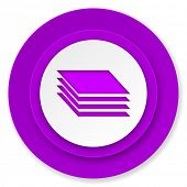 layers icon, violet button, gages sign