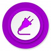 plug icon, violet button, electricity sign
