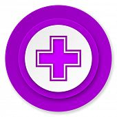 pharmacy icon, violet button