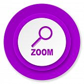 zoom icon, violet button