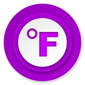 fahrenheit icon, violet button, temperature unit sign