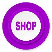 shop icon, violet button