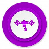 water icon, violet button, hydraulics sign