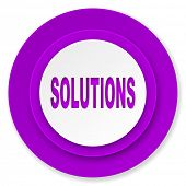 solutions icon, violet button