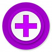 plus icon, violet button, cross sign