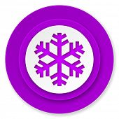 snow icon, violet button, air conditioning sign