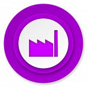 factory icon, violet button, industry sign, manufacture symbol