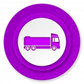 truck icon, violet button, cargo sign