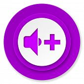 speaker volume icon, violet button, music sign