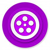 film icon, violet button