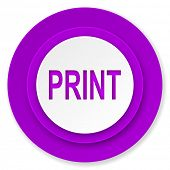 print icon, violet button