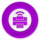printer icon, violet button, wireless print sign