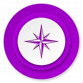 compass icon, violet button