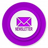 newsletter icon, violet button