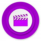 video icon, violet button, cinema sign