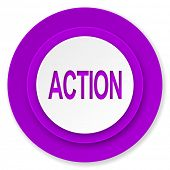 action icon, violet button