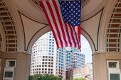 image of prudential center  - USA flag in The financial district of Boston  - JPG