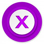 cancel icon, violet button