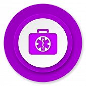 rescue kit icon, violet button, emergency sign