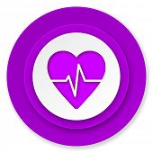 pulse icon, violet button, heart rate sign