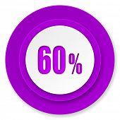 60 percent icon, violet button, sale sign