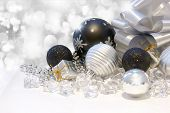 Christmas background with black and silver decorations
