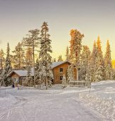 stock photo of laplander  - Wooden cottage house at winter Lapland in FInland